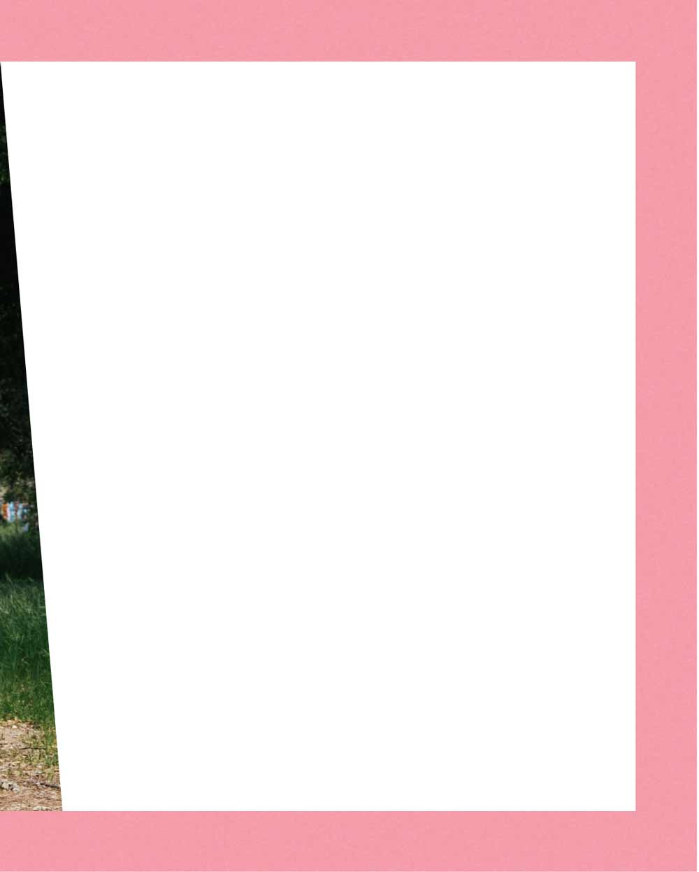 White background with pink border