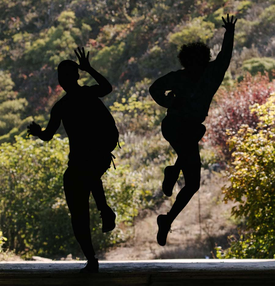 The silhouette of two people jumping in a shaded area.